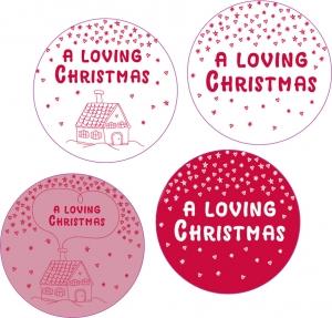 "Etichetta Tonda Linea ""a Loving Christmas"" (25 Pezzi) - vendita online all'ingrosso b2b"