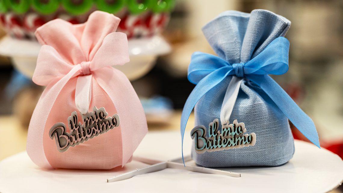 Sacchetti portaconfetti in cotone rosa e azzurro