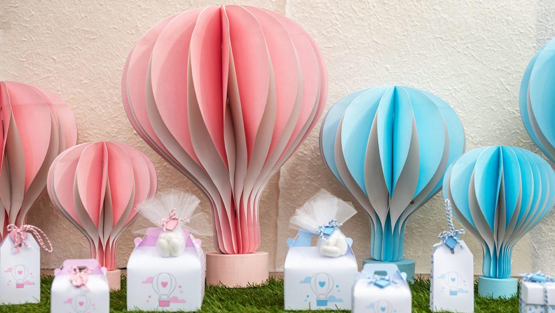 Scatole linea balloon rosa e azzurro bomboniere sognanti per battesimo