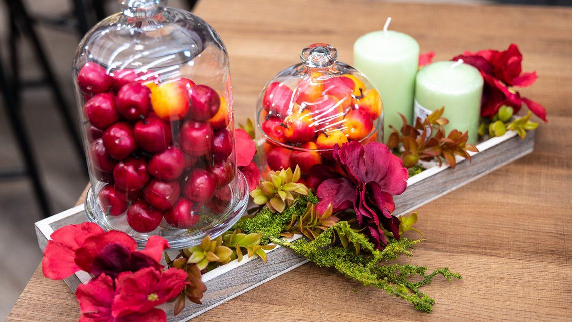 Vasi, alazatine e frutta artificiale per allestimenti e decorazioni autunno 2021